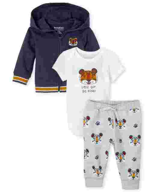 Baby Boys Long Sleeve French Terry Zip Up Hoodie Short Sleeve 'Little Guy Big Roar' Bodysuit And Tiger Print Knit Pants 3-Piece Playwear Set