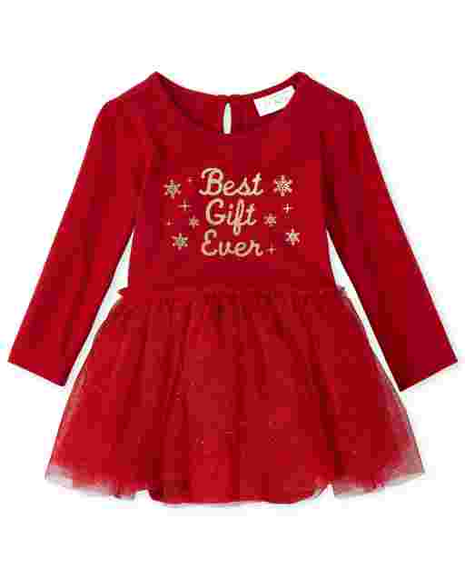 Baby Girls Long Sleeve Glitter 'Best Gift Ever' Knit To Woven Tutu Dress