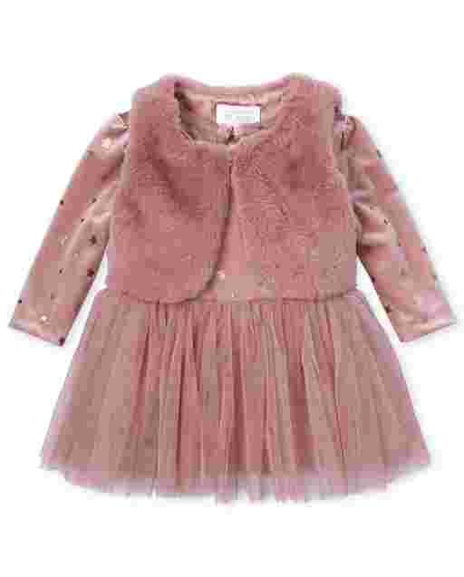 Baby Girls Long Sleeve Velour Glitter Knit To Woven Tutu Dress And Sleeveless Faux Fur Vest