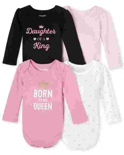 Baby Girls Long Sleeve Queen Bodysuit 4-Pack