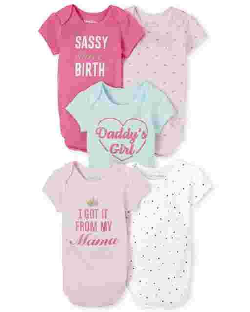 Baby Girls Short Sleeve 'Sassy' Bodysuit 5-Pack