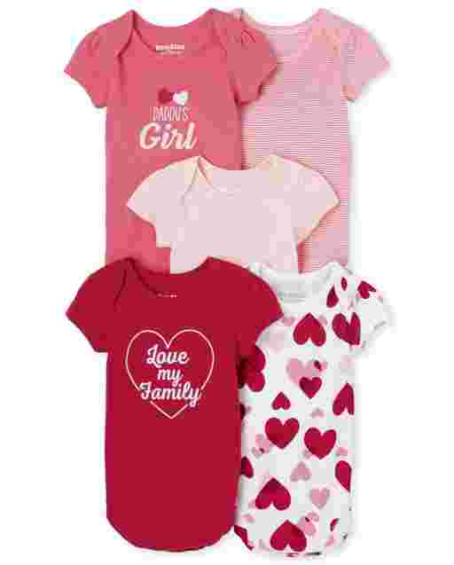 Baby Girls Short Sleeve Valentine's Day Bodysuit 5-Pack