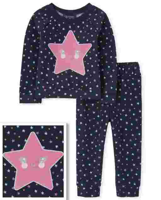 Toddler Girls Long Sleeve Star sweatshirt And Dot Print Knit Jogger Pants Outfit Set