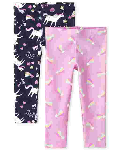 Toddler Girls Rainbow Hearts And Unicorn Knit Leggings 2-Pack