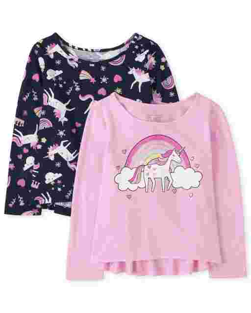 Toddler Girls Long Sleeve Graphic Top 2-Pack
