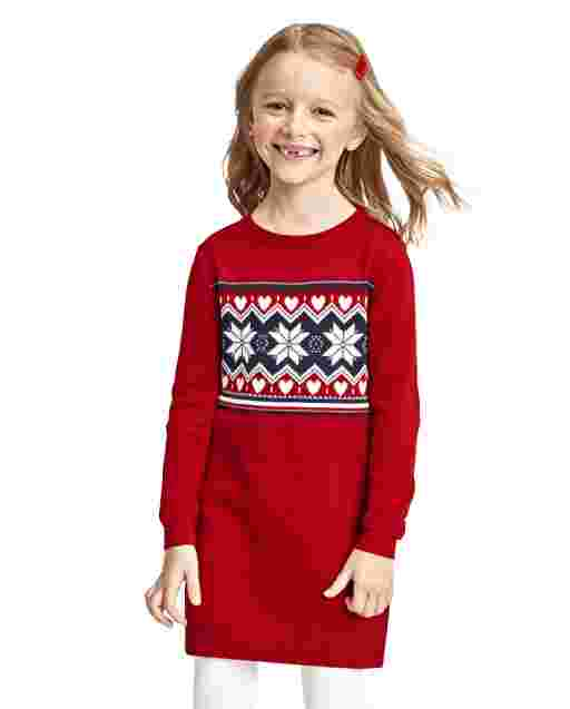 Baby And Toddler Girls Long Sleeve Snowflake Fairisle Sweater Dress