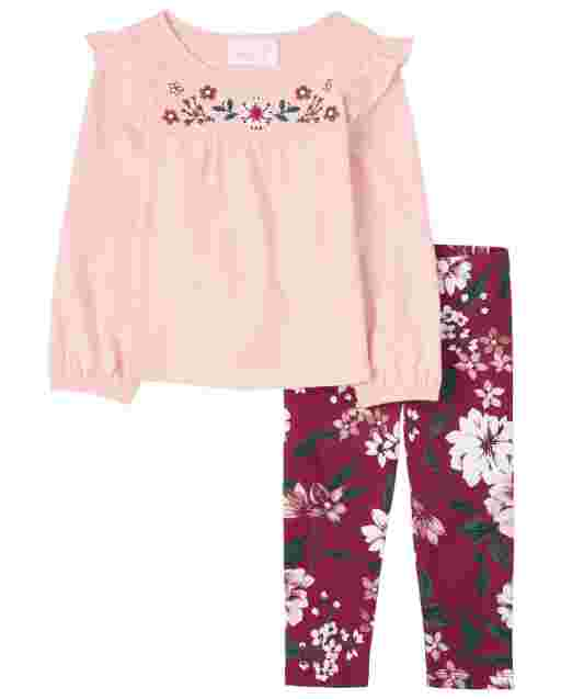 Toddler Girls Long Sleeve Embroidered Floral Ruffle Top And Floral Knit Leggings Outfit Set