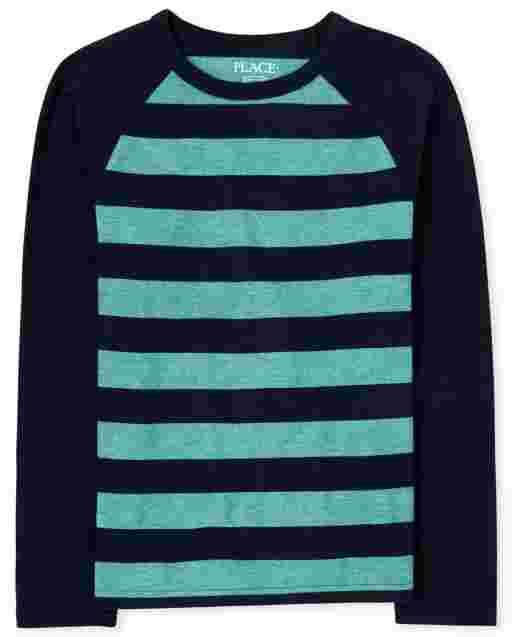 Boys Long Sleeve Striped Raglan Top