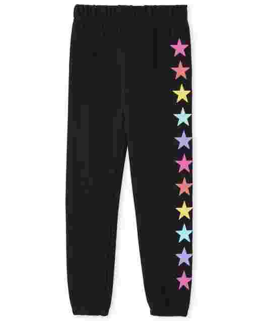 Girls Active Rainbow Graphic French Terry Jogger Pants