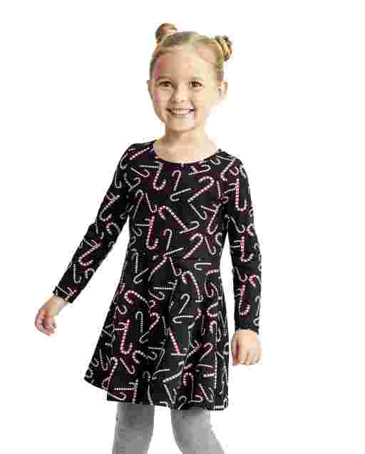 Baby And Toddler Girls Long Sleeve Candy Cane Print Knit Skater Dress