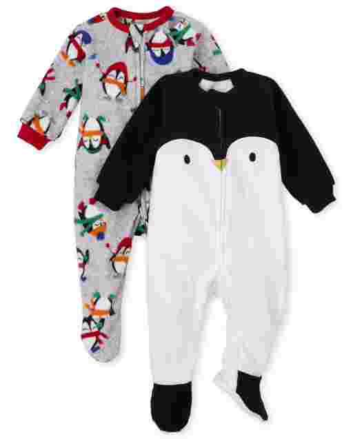 Baby And Toddler Boys Long Sleeve Penguin Fleece Footed One Piece Pajamas 2-Pack