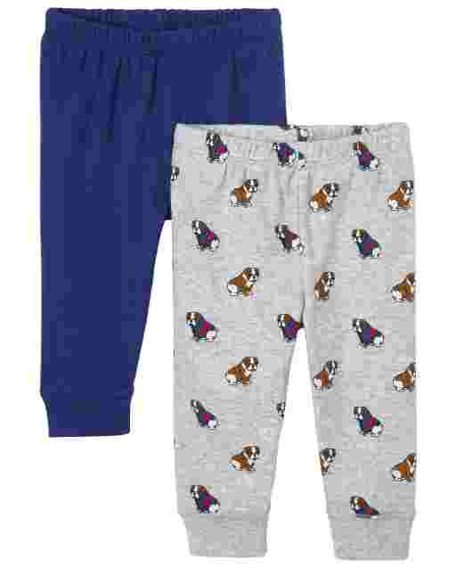Baby Boys Bulldog Print And Solid Knit Pants 2-Pack