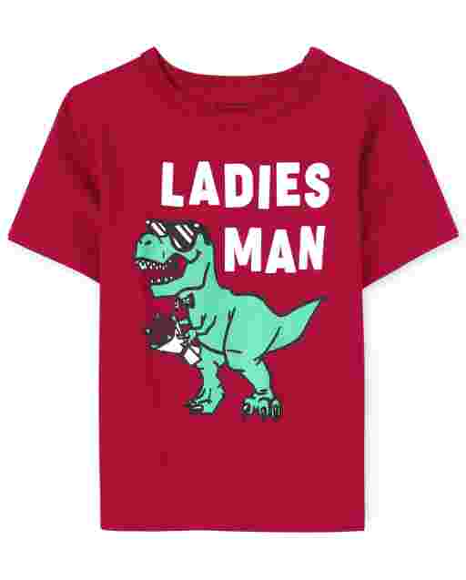 Baby And Toddler Boys Valentine's Day Short Sleeve 'Ladies Man' Dino Graphic Tee