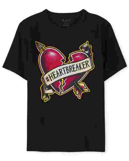 Camiseta estampada ' Heartbreaker ' manga corta del día de San Valentín ' s para niños
