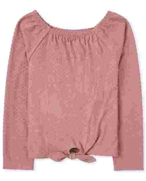 Girls Long Sleeve Square Neck Tie Front Top