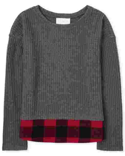 Girls Long Sleeve Buffalo Plaid 2 In 1 Lightweight Sweater