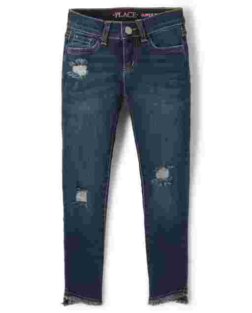 Girls Tulip Hem Distressed Denim Super Skinny Jeans