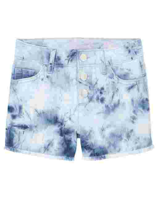 Girls Tie Dye Denim Shortie Shorts