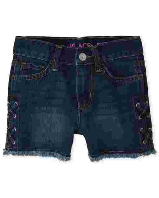 Girls Lace Up Denim Shortie Shorts