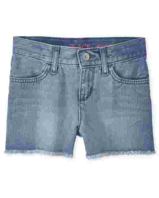 Girls Two Tone Denim Shortie Shorts