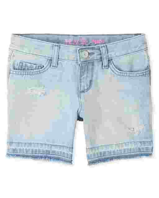 Girls Let Down Hem Distressed Denim Midi Shorts