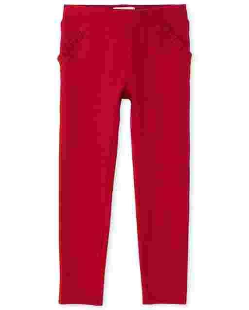 Girls Ruffle Ponte Knit Pull On Jeggings