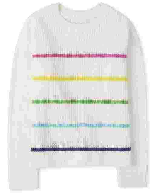 Girls Long Sleeve Rainbow Striped Sweaters