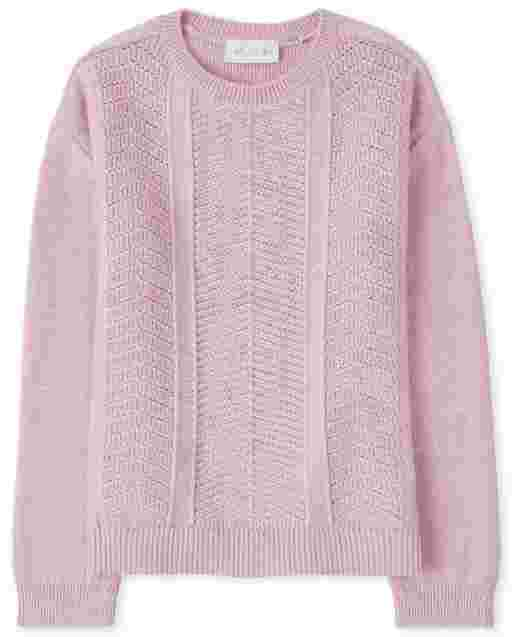 Girls Long Sleeve Stitched Sweater
