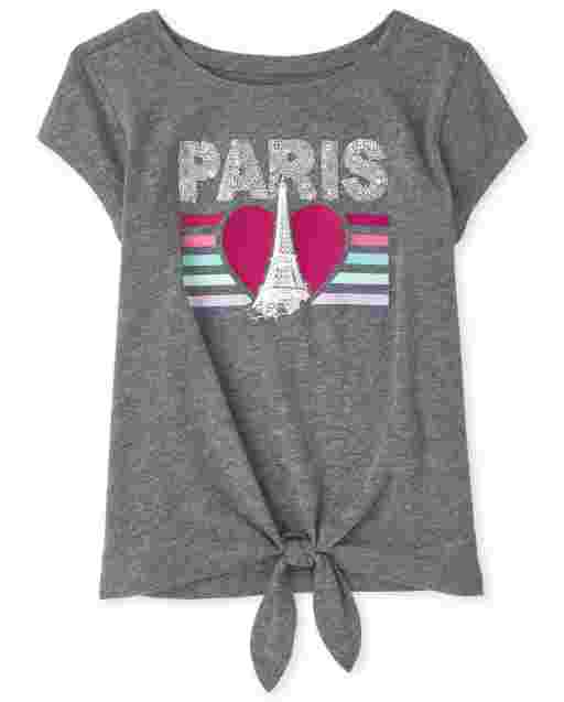 Girls Short Sleeve Graphic Tie Front Top