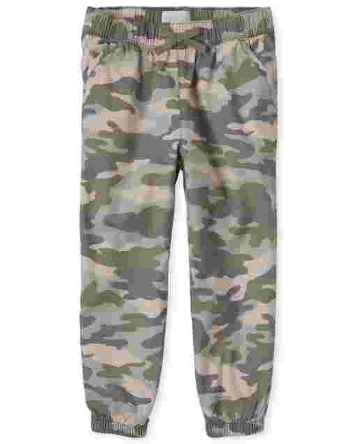 Girls Woven Pull On Camo Jogger Pants