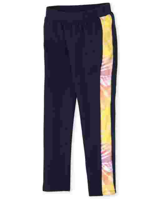Girls Rainbow Knit Cozy Side Stripe Leggings