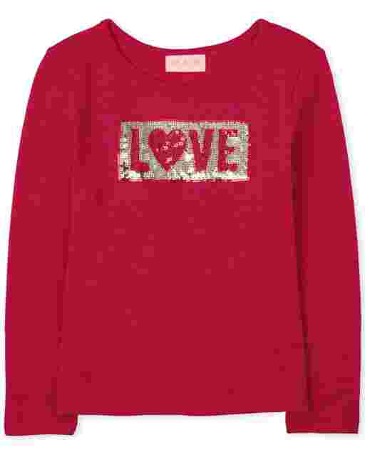 Girls Valentine's Day Long Sleeve 'Love' Cozy Lightweight Sweater