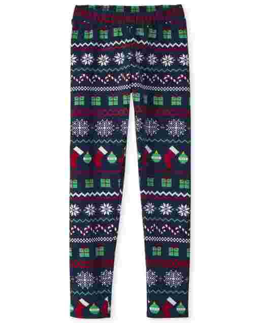 Girls Print Knit Cozy Leggings