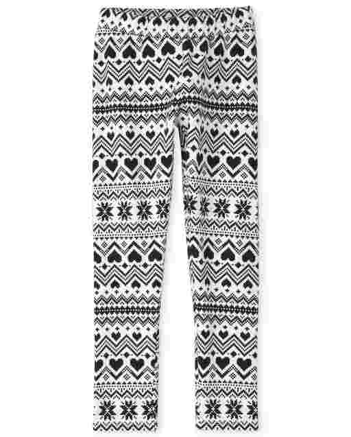 Girls Print Fleece Lined Knit Cozy Leggings