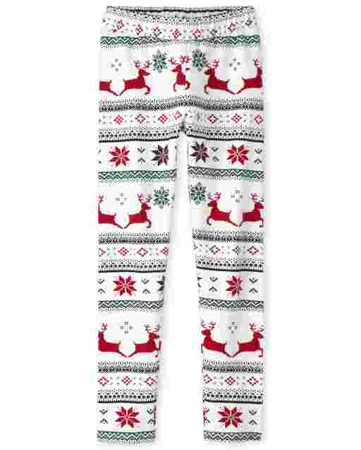 Girls Christmas Fairisle Fleece Lined Knit Cozy Leggings