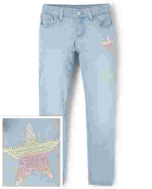Girls Star Graphic Super Skinny Jeans