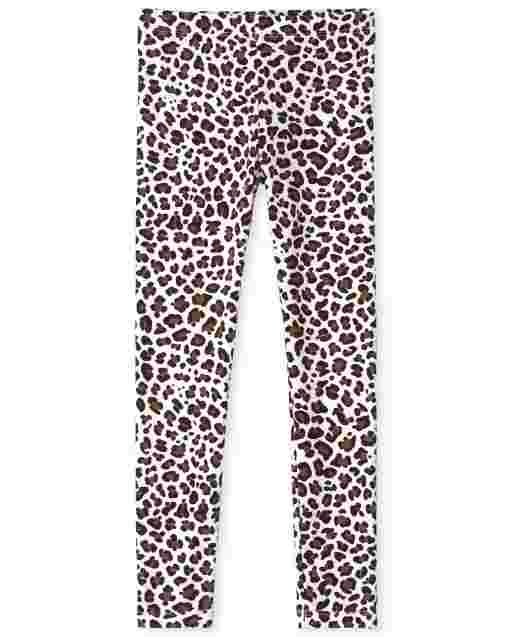 Girls Leopard Print Knit Leggings