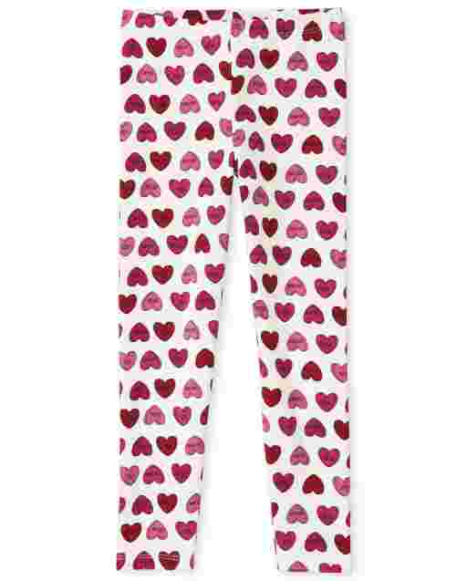 Girls Valentine's Day Heart Print Knit Leggings