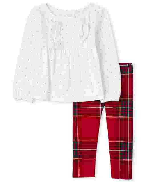 Toddler Girls Long Sleeve Ruffle Top And Plaid Knit Leggings Outfit Set