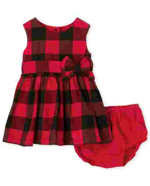 Baby Girls Matching Family Sleeveless Buffalo Plaid Twill Fit And Flare Dress
