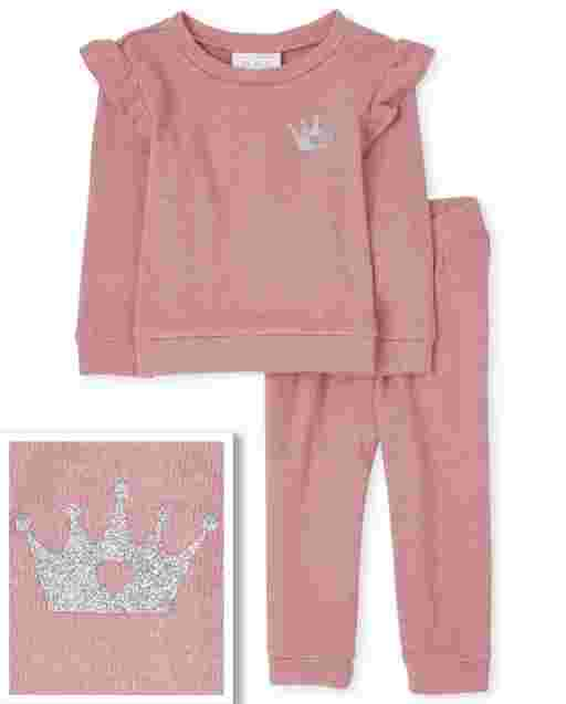 Toddler Girls Long Sleeve Crown Ruffle Lightweight Sweater And Lightweight Sweater Pants Outfit Set