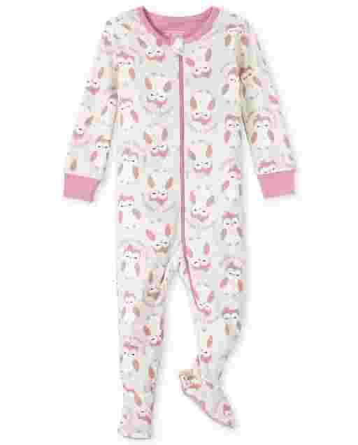 Baby And Toddler Girls Long Sleeve Owl Print Snug Fit Cotton One Piece Pajamas