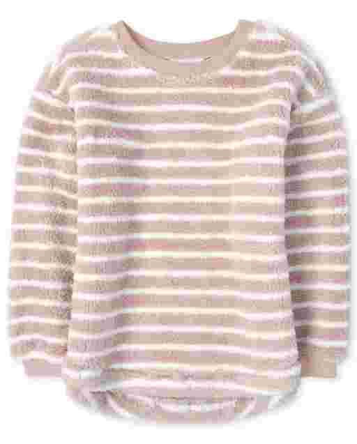 Girls Active Long Sleeve Striped Sherpa Sweatshirt
