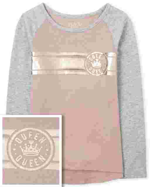 Girls Active Long Sleeve Foil Graphic Hi Low Top