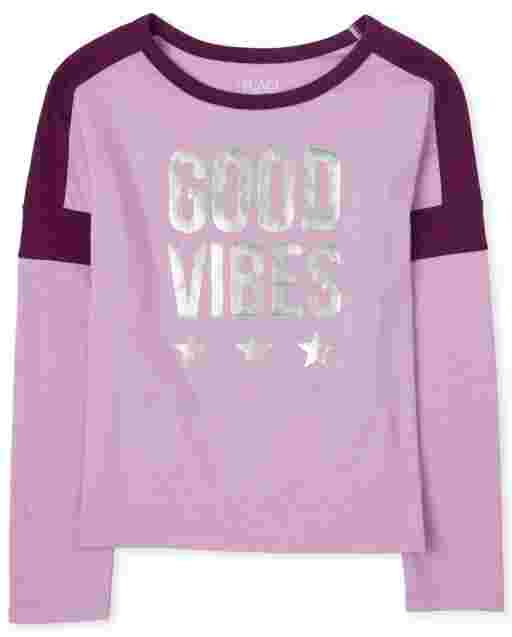 Girls Active Long Sleeve Foil Graphic Colorblock Top