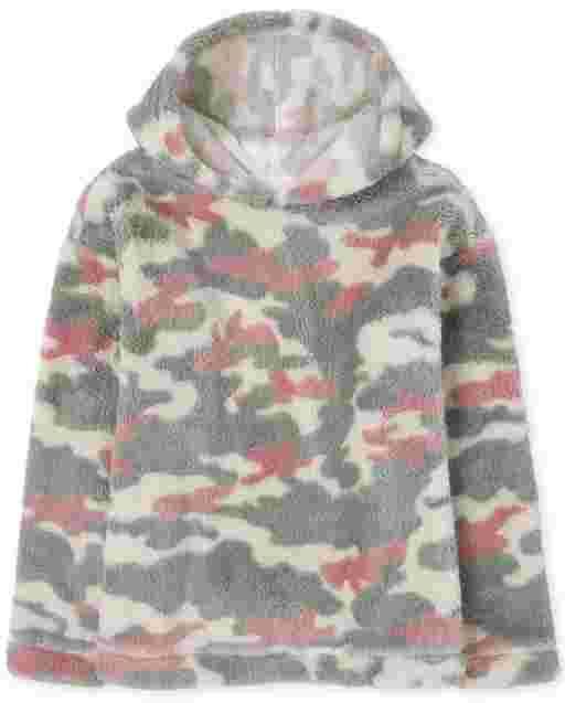 Girls Active Long Sleeve Print Sherpa Hoodie