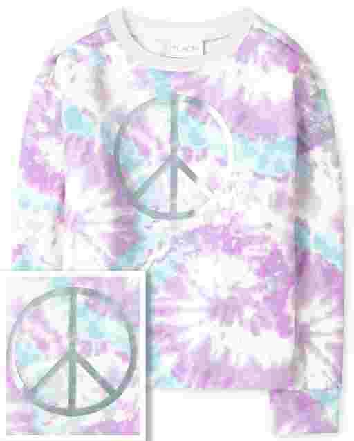 Girls Long Sleeve Tie Dye Print Cozy Pullover