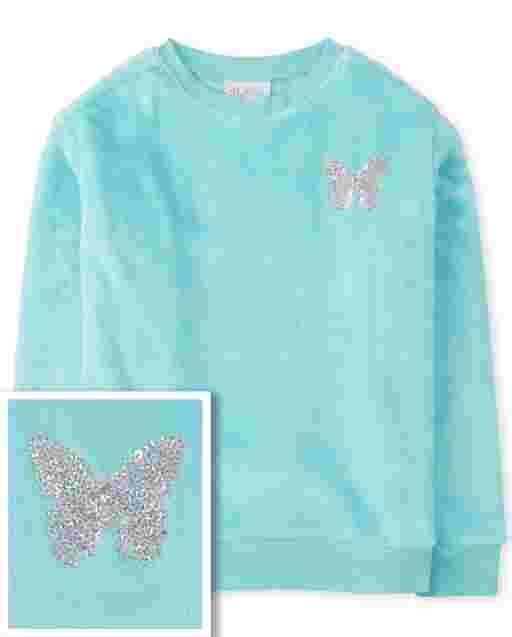 Girls Long Sleeve Faux Fur Graphic Sweatshirt