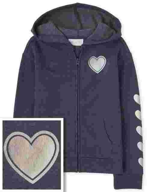 Girls Long Sleeve French Terry Zip Up Hoodie