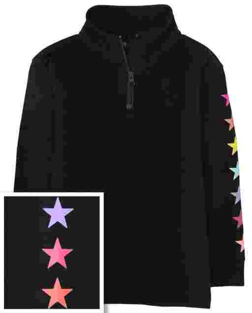Girls Long Sleeve Rainbow Star Half Zip Mock Neck Pullover